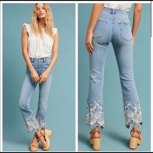 Pilcro Anthropologie High-Rise Bootcut Floral Jean